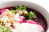 Tasty soup on bright background — Stock Photo
