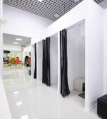 Interior of dressing room at cloth store — Foto Stock
