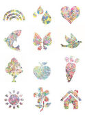 Handprint painted shapes - collection — 图库照片
