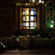 Stock Photo: Srinagar Shah E HamdMosque Interior Praying V