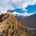 Watchtower Spiti Valley Dhankar Close Mountains — Stock Photo #13684390