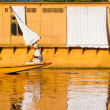Kashmiri Man Rowing House Boat Dal Lake — Stock Photo