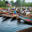 dal lake morning vegetable market wide — Stock Photo