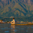 Dal Lake Mountains Landscape Boat Man Scenic — Stock Photo