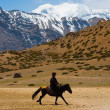 Buddhist Pilgrim Man Riding Horse Mountain — Stock Photo #13698342
