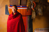 Tibetan Dhankar Monastery Monk Smiling Red — Stock Photo