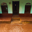 Indian House Rice Powder Drawing Kolam Ground — Stock Photo