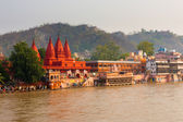 Red Temple Ganges River Bathing — Stock Photo