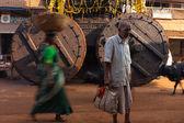 Large Ratha Chariot Wheels Painted Man Gokarna — Stock Photo