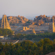 Royalty-Free Stock Photo: Long Distance Landscape Virupaksha Temple Hampi H