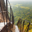 Постер, плакат: Sigiriya Rock Steep Metal Stairs Landscape Below