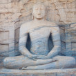 Stock Photo: Striated Sitting BuddhStatue PolonnaruwFront