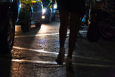Legs Street Prostitution Car Headllights Bangkok — Stock Photo