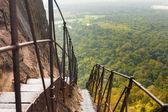 Sigiriya Rock Steep Metal Stairs Landscape Below — Stock Photo