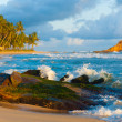 Stock Photo: MirissBeach Waves Breaking Rock Island Tropical