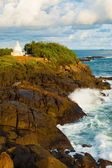 Wave Crashing Over Rock Headland Dagoba Unawatuna — Stock Photo