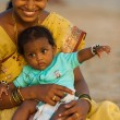 Middle Class Indian Woman Baby Tourists Goa - Stock Photo