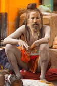 Naga Baba Sadhu Ash Covered Skin Varanasi — Stock Photo
