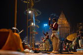 Varanasi Night Prayer Brahmin Priest Side Incense — Stock Photo