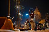 Varanasi Night Prayer Brahmin Priest Side Incense — Stock Photo