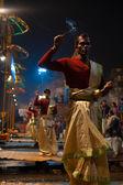 Varanasi Night Puja Brahmin Priest Facing Incense — Stock Photo