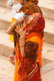 Indian Hindu Woman Drinking Ganges River Water — Stock Photo