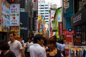 Seoul Busy Shopping Area Signs Shoppers — Stock Photo