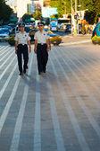 Young Korean Men Police Patrol Seoul Downtown — Stock Photo