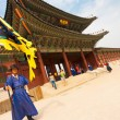 Flag Guard Gyeonbokgung Palace Entry Gate Tilted — Stock Photo