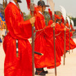 Row Soldiers Red Spears Gyeongbokgung Palace — Stock Photo