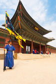 Blue Guard Flag Gyeongbokgung Palace Entrance V — Stock Photo