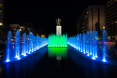 King Sae Jong Dae Statue Night Fountain Centered — Stock Photo