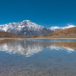 Stock Photo: Alpine Lake Snowcapped Mountain Dhankar Himalayas
