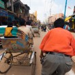 Riding Passenger POV Cycle Rickshaw Street India — Stock Photo
