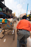 Riding Passenger POV Cycle Rickshaw Street India — Zdjęcie stockowe