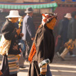 Tibetan Woman Pilgrim Jokhang Temple Barkhor Side — Stock Photo