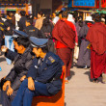 Policemen Security Watching Barkhor Lhasa Tibet — Stock Photo