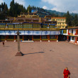 Stock Photo: Rumtek Monastery Courtyard Monk Walking