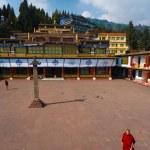 Rumtek Monastery Courtyard Monk Walking — Stock Photo
