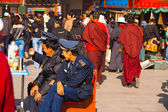 Policemen Security Watching Barkhor Lhasa Tibet — Stock Photo