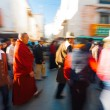 Tibetan Pilgrims Walking Barkhor Jokhang Blur — Stock Photo