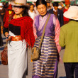 Well-Dressed Tibetan Women Barkhor Walking - Stock Photo