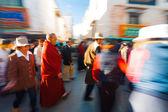Tibetan Pilgrims Walking Barkhor Jokhang Blur — Stock Photo
