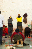 Jokhang Temple Wall Prostrating Bound Legs Women — Stock Photo