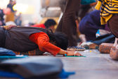 Tibetan Pilgrim Prostrating Flat Ground Jokhang — Stock Photo