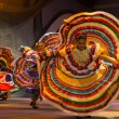 Mexican Dancer Yellow Dress Spreading Spinning — Stock Photo #40060167