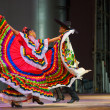 Stock Photo: Traditional MexicDancer Red Dress Spreading