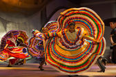 Mexican Dancer Yellow Dress Spreading Spinning — Stock Photo