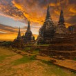 Stock Photo: Wat PhrSi Sanphet Temple Sunset Ayutthaya