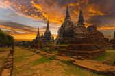 Wat Phra Si Sanphet Temple Sunset Ayutthaya — Stock Photo